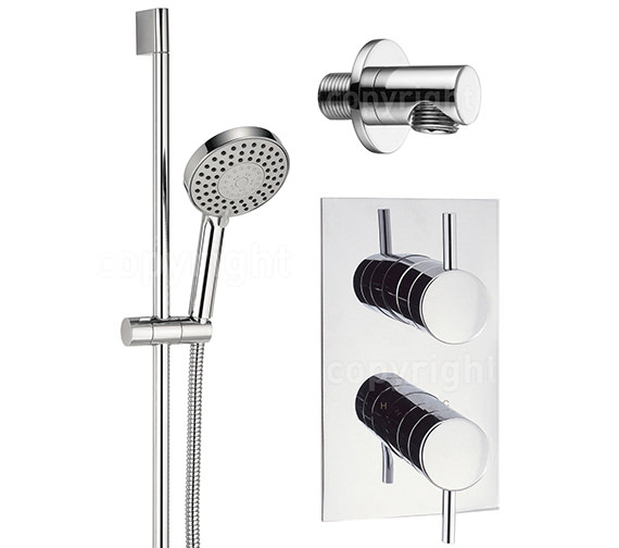 Crosswater Kai Thermostatic Valve With 5 Mode Shower Kit And Wall Outlet