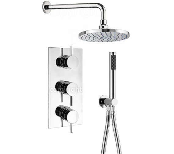 Crosswater Kai Lever Thermostatic 3 Control Overhead And Hand Shower Set