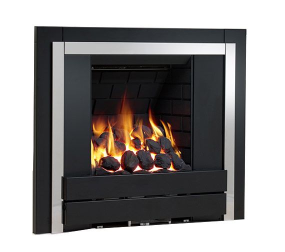 Be Modern Panoramic Slimline Inset Gas Fire Plain Black-Coal - 32042