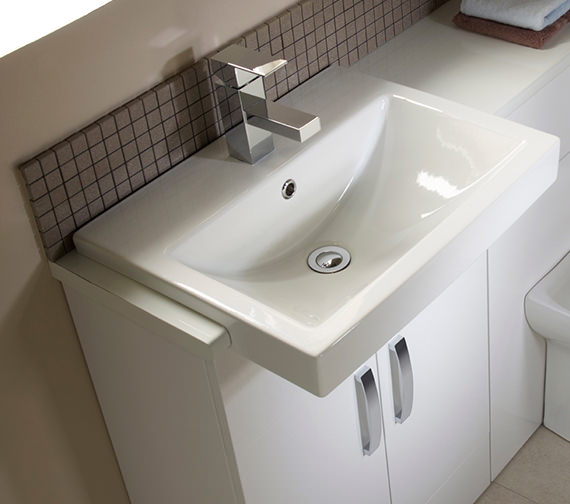 Additional image of Tavistock Courier 600mm Semi Countertop Vanity Unit - Gloss White