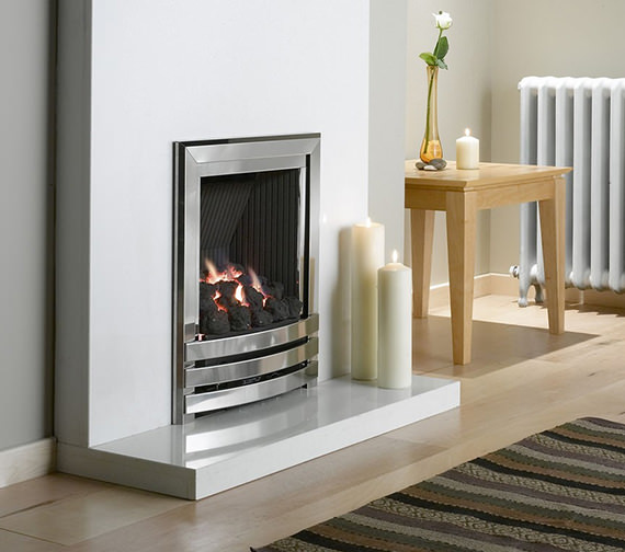 Flavel Linear Power Flue Gas Fire No Chimney Silver-Coal - FVPCU0MN