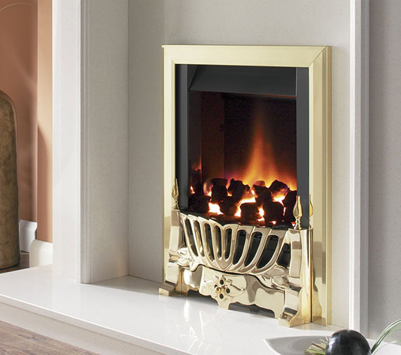 Flavel Warwick Power Flue Inset Gas Fire No Chimney Brass - FVNC14MN
