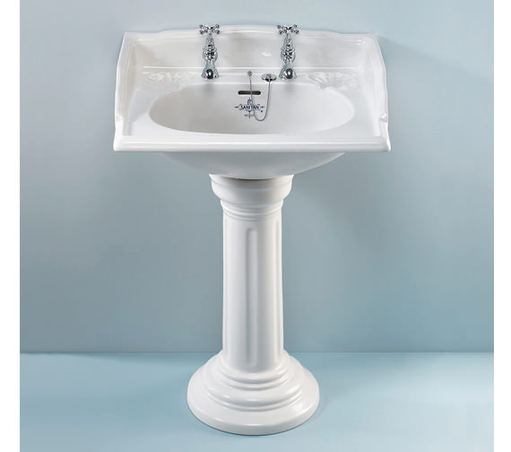 Silverdale Victorian 635mm White 2 Taphole Basin - VCBASPE2WHIBL
