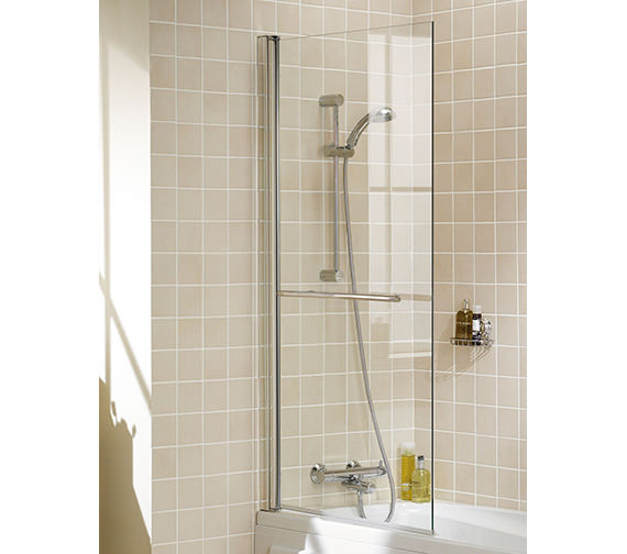 Lakes Classic Square Bath Screen With Towel Rail 800x1500mm