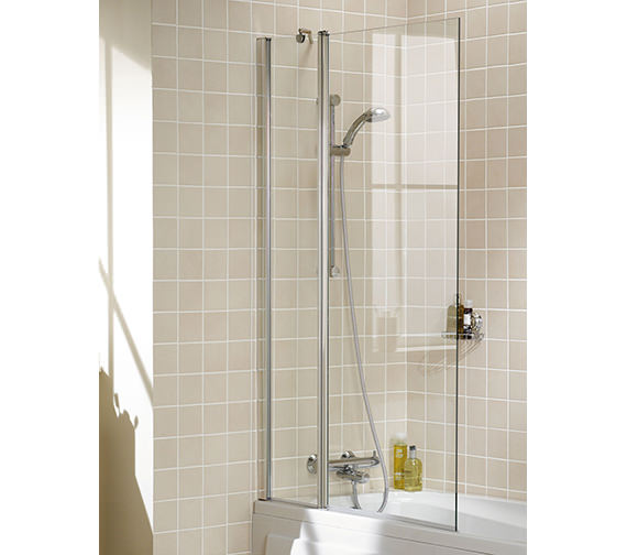Lakes Classic Double Panel Bath Screen 944 x 1500mm Silver