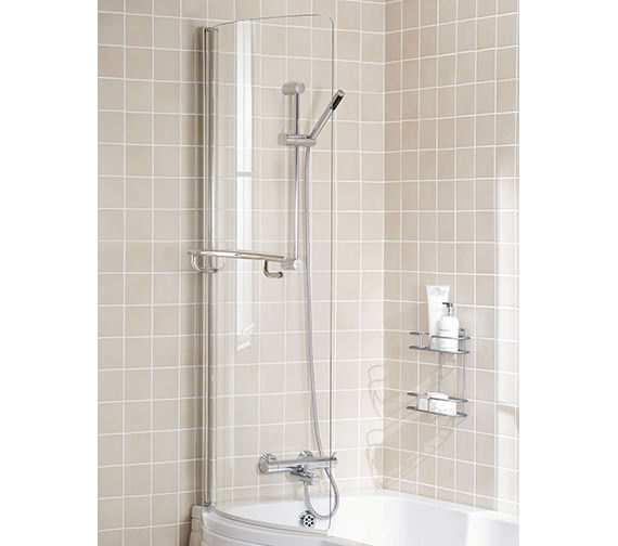 Lakes Classic Silver Arc Bath Screen 745x1500 With Towel Rail