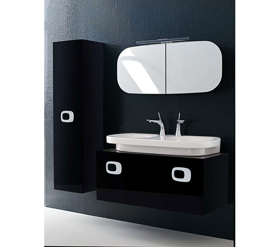 Additional image of Laufen Mimo Mirror Cabinet With Lighting 1000 x 450mm - Black