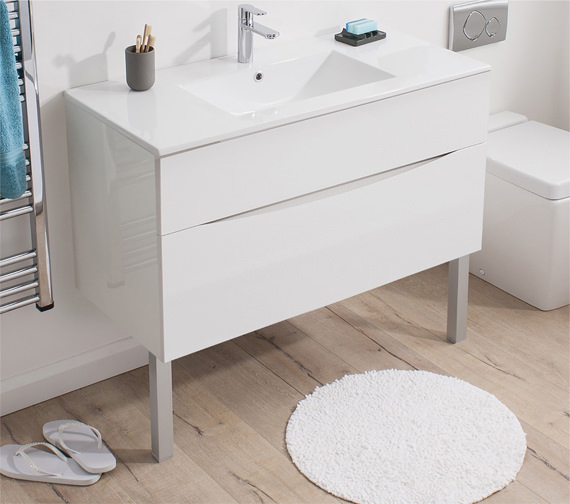 Additional image of Bauhaus Glide II 700 x 455mm Basin Unit White Gloss - GL7000DWG
