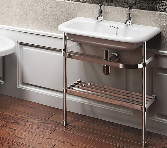 Clearwater Traditional Medium Roll Top Basin With Stand 650mm
