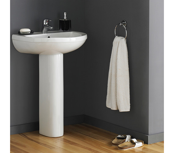 Nuie Premier Ivo 550mm Wall Mounted 1 Tap Hole Basin With Semi Pedestal