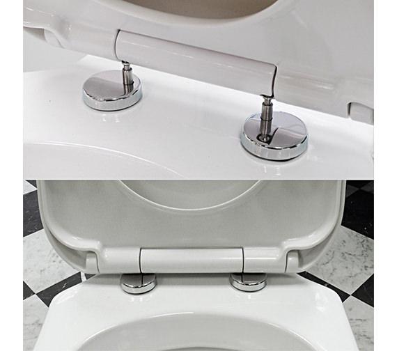 Lauren Luxury White Top Fix Quick Release D Shape Soft Close Toilet Seat