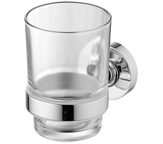 Ideal Standard IOM Clear Glass Tumbler And Chrome Holder