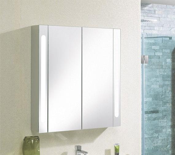 Alternate image of Bauhaus Aluminium 800 x 800mm Double Door Mirrored Cabinet