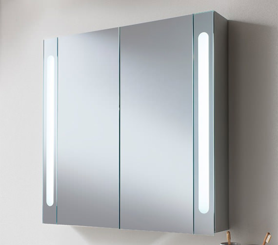 Additional image of Bauhaus Aluminium 800 x 800mm Double Door Mirrored Cabinet