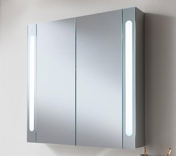 Additional image of Bauhaus Aluminium 800 x 800mm Double Door Mirrored Cabinet