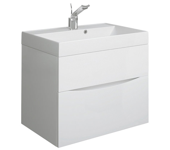Bauhaus Glide II 700 x 455mm Basin Unit White Gloss - GL7000DWG