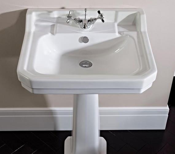Tavistock Vitoria 605mm 1 Tap Hole Ceramic Basin And Full Pedestal