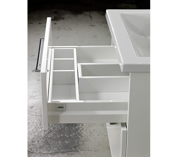 Additional image of Miller New York 60 White Two Drawer Wall Hung Vanity Unit - 288-2