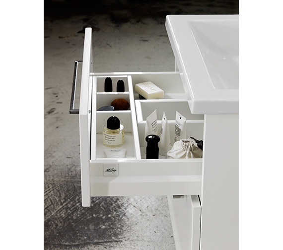 Alternate image of Miller New York 80 Two Drawer White Wall Hung Vanity Unit