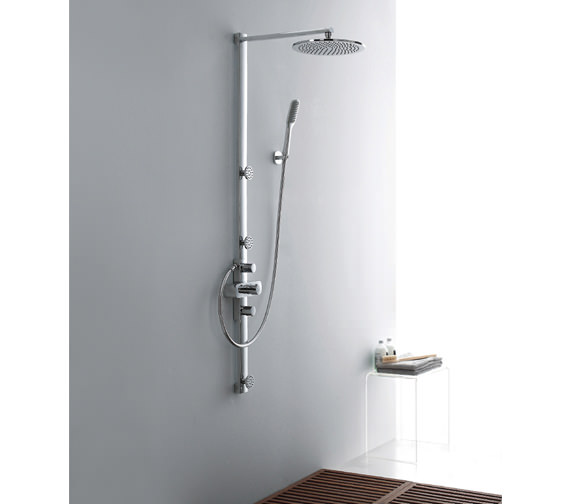 Alternate image of Flova Allore Thermostatic Shower Column With Overhead Shower And Jets