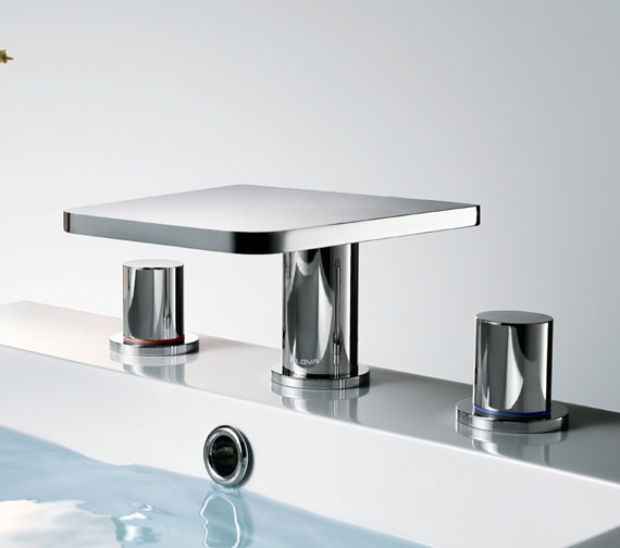 Flova Annecy 3 Hole Deck Mounted Basin Mixer Tap With Clicker Waste