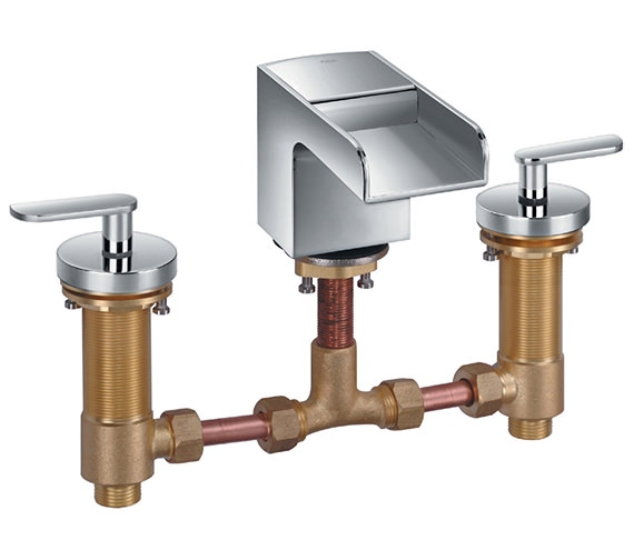 Flova Cascade 3 Hole Deck Mounted Basin Mixer Tap With Clicker Waste