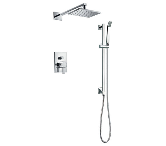 Flova Str8 Manual Valve With Diverter-Overhead Shower And Slide Rail Set