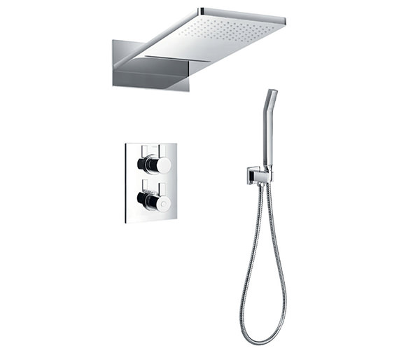 Flova Str8 Thermostatic Valve With Diverter-Dual Overhead Shower And Kit