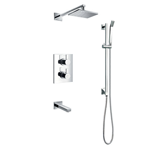 Flova Str8 Thermostatic Complete Shower Set With Bath Spout