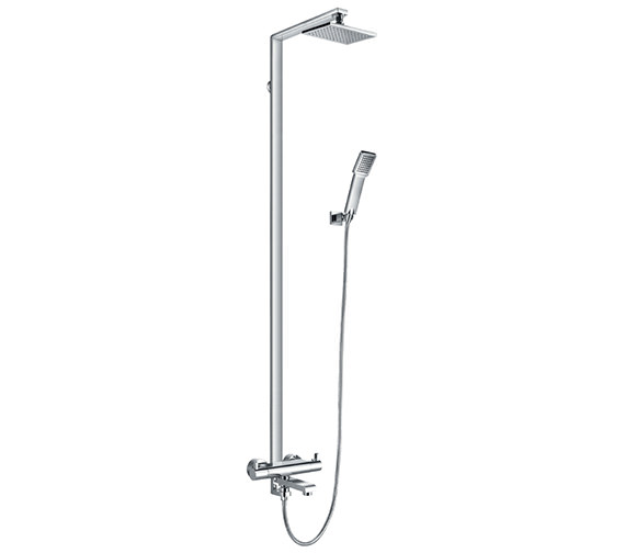 Flova Essence Thermostatic Rigid Riser Shower Set With Bath Filler Spout