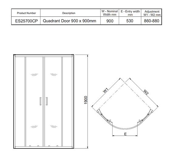Technical drawing QS-V27460 / ES25700CP