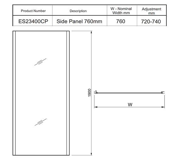 Additional image of Twyford ES200 Shower Enclosure Reversible design Side Panel 900mm