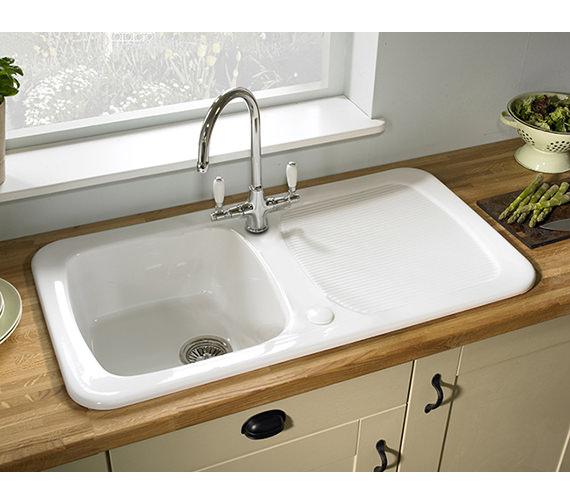 Astracast Aquitaine 1.0 Bowl Ceramic Gloss White Inset Kitchen Sink ...