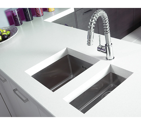 Additional image of Astracast Onyx 4016 Half Bowl Brushed Stainless Steel Flush Inset Sink
