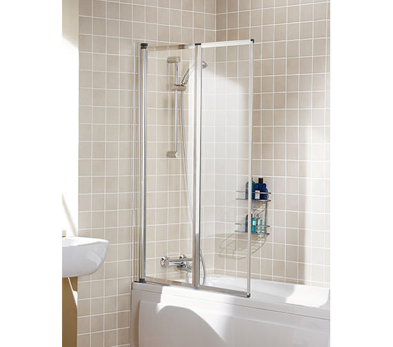 Lakes Classic Double Panel Silver Framed Bath Screen 950mm  - SS75 05