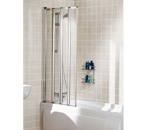 Lakes Classic Four Panel Framed Bath Screen 730mm Silver - SS85S