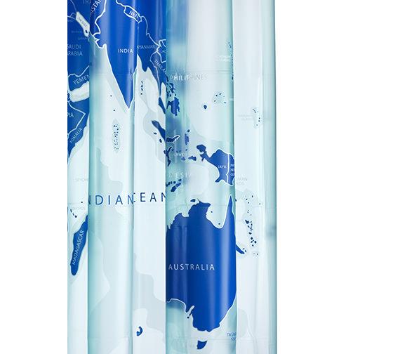 Croydex World Map PVC Vinyl Shower Curtain - AE580815