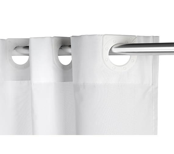Croydex White Regency Stripe Textile Hook Less Shower Curtain
