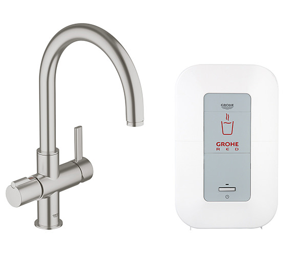 grohe red duo supersteel faucet and 4 liters single boiler. Black Bedroom Furniture Sets. Home Design Ideas