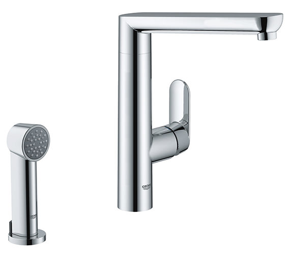 Grohe K7 Single Lever Chrome Kitchen Sink Mixer Tap With Pull Out Spray