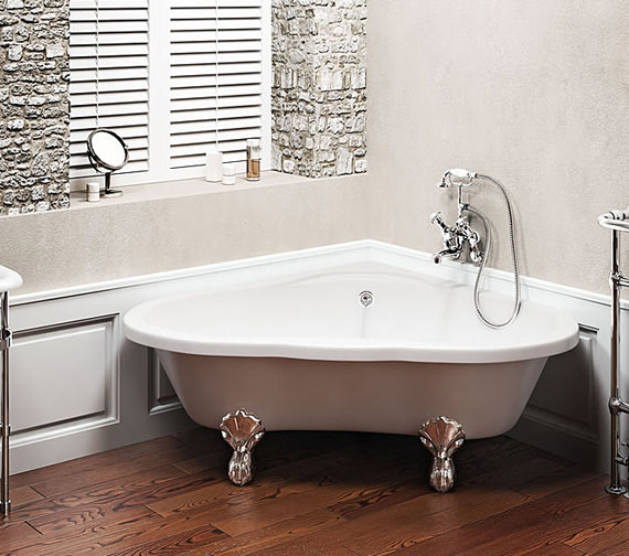 Additional image of Clearwater Heart Traditional Corner Bath 1630mm With White Classic Feet