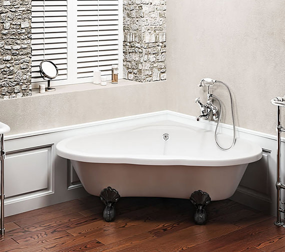 Alternate image of Clearwater Heart Traditional Corner Bath 1630mm With White Classic Feet