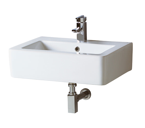 Phoenix Qube Basin With Square Bottle Trap 600mm Wide - QU004 - WA011