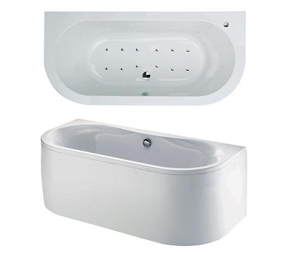 Phoenix Dee Bow Fronted Double Ended Airpool Bath 1700x800mm System 2