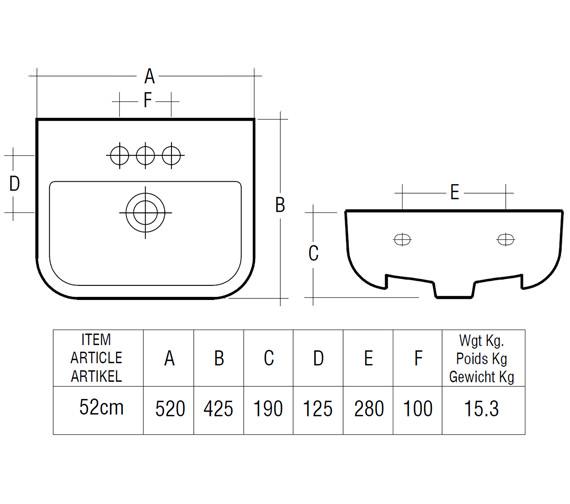 Additional image of RAK Series 600 Semi Recessed Basin