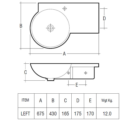 Technical drawing QS-V30131 / Rak Ceramics - QS-V30131
