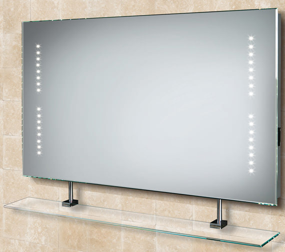 HIB Aztec LED Bathroom Mirror With Glass Shelf And Shaver Socket