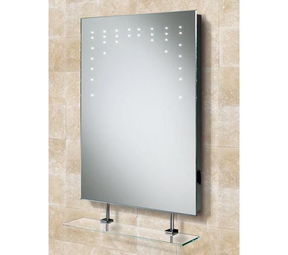 hib rain led bathroom mirror with glass shelf and shaver. Black Bedroom Furniture Sets. Home Design Ideas