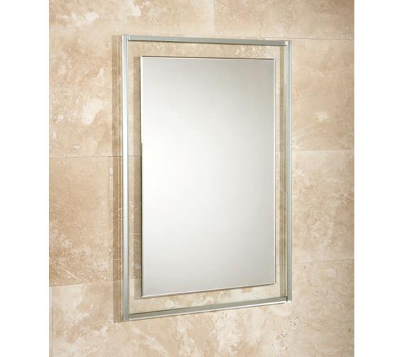 HIB Georgia Bevelled Edge Mirror On Clear Glass Frame 500 x 700mm
