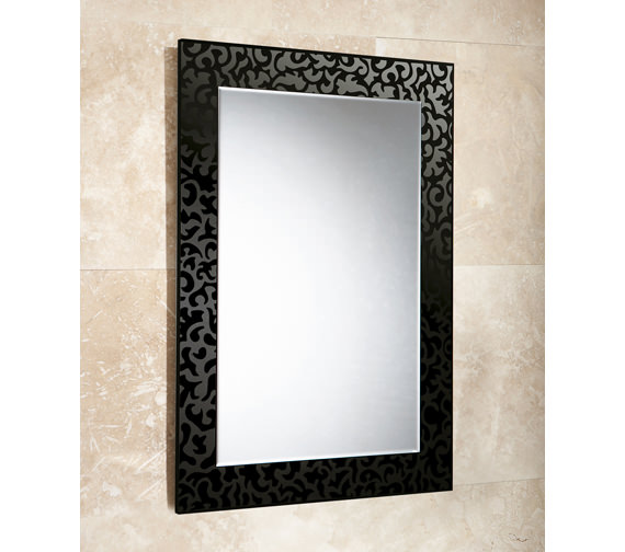 HIB Flora Rectangular Bevelled Mirror On Black Glass Patterned Frame